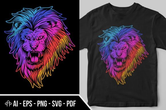 Print on Demand: Angry Lion Colorful Graphic Illustrations By Andypp