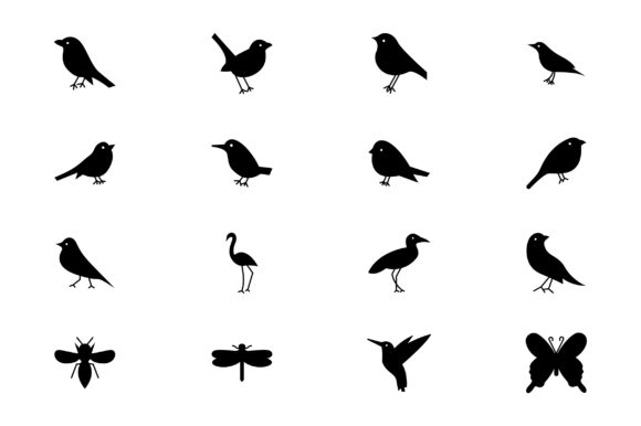 Download Free Bird Glyph Icon Set Vector Graphic By Riduwan Molla Creative for Cricut Explore, Silhouette and other cutting machines.