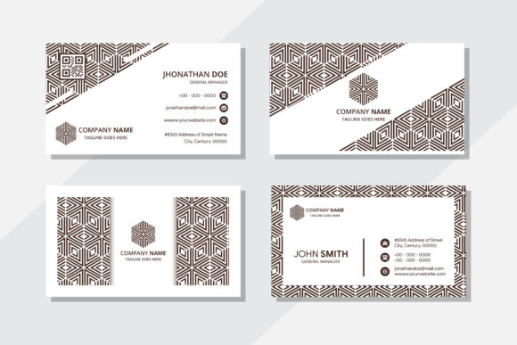 Print on Demand: Brown Pattern Business Card Hexagon Graphic Graphic Templates By noory.shopper