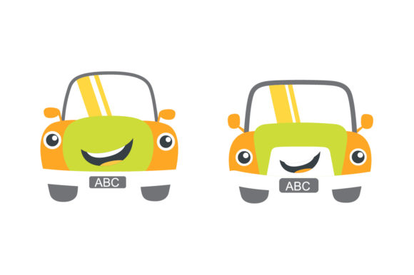 Cartoon Happy Character Car Sets Graphic Crafts By dangglemstudio