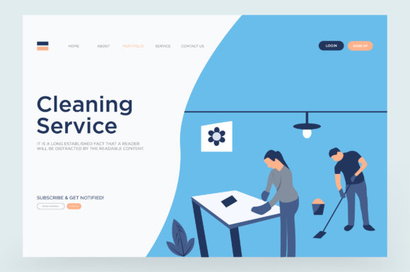 Print on Demand: Cleaning Landing Page Vector Graphic Landing Page Templates By Riduwan Molla
