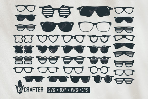 Download Free Cool Glasses Big Bundle Graphic By Great19 Creative Fabrica for Cricut Explore, Silhouette and other cutting machines.