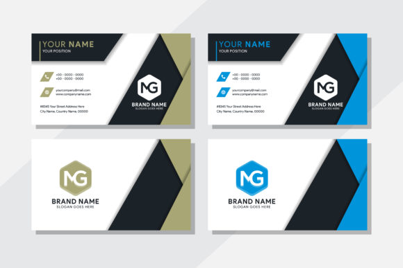 Print on Demand: Dark Green Blue Geometric Business Card Graphic Print Templates By noory.shopper