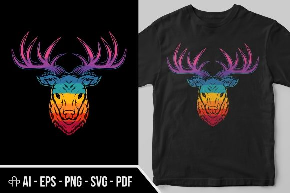 Download Free Deer Head Colorful Graphic By Andypp Creative Fabrica for Cricut Explore, Silhouette and other cutting machines.