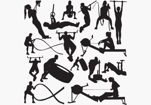 Download Free Fitness Gym Equipment Silhouettes Graphic By Octopusgraphic for Cricut Explore, Silhouette and other cutting machines.