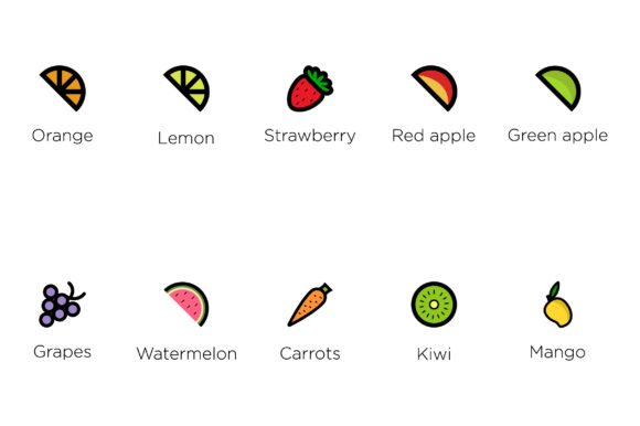 Download Free Fruit Icon Set Vector Graphic By Riduwan Molla Creative Fabrica for Cricut Explore, Silhouette and other cutting machines.