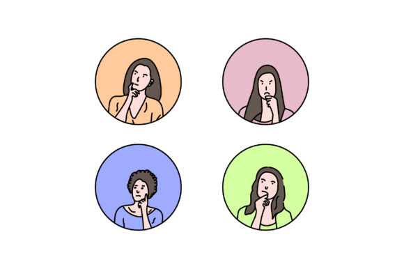 Print on Demand: Girl Avatar Icon Vector Graphic Icons By Riduwan Molla