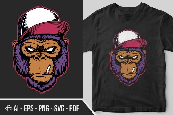 Print on Demand: Gorilla Cigarette Vector Illustration Graphic Illustrations By Andypp