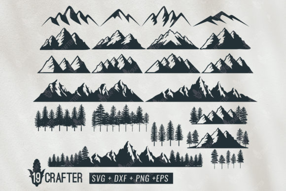 Print on Demand: Berge Wald SVG-Paket Grafik Designvorlagen von great19