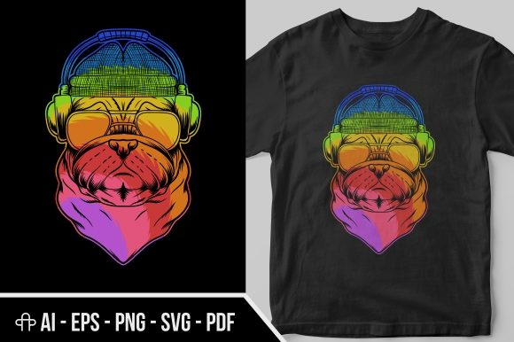Download Free Pug Dog Headphone Colorful Graphic By Andypp Creative Fabrica for Cricut Explore, Silhouette and other cutting machines.
