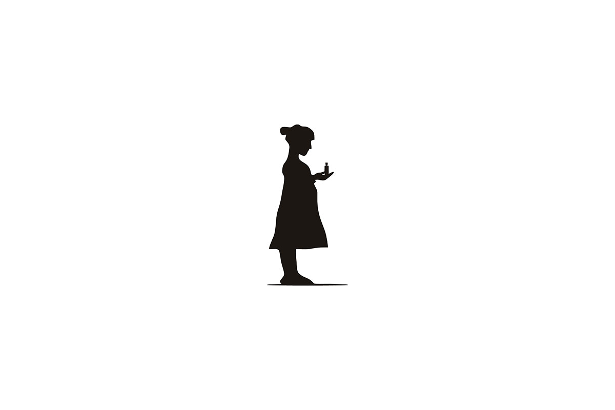 Download Free Silhouette Young Woman Holding Candle L Graphic By Yahyaanasatokillah Creative Fabrica for Cricut Explore, Silhouette and other cutting machines.