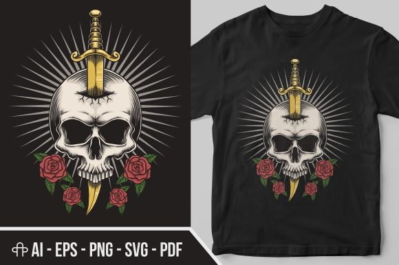 Print on Demand: Skull Dagger Rose Illustration Graphic Illustrations By Andypp