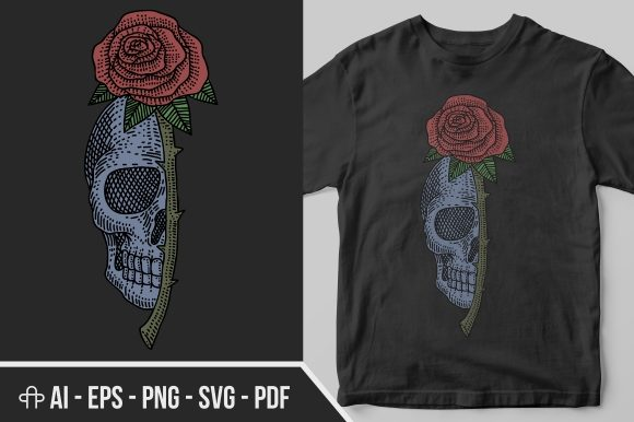 Download Free Skull Rose Vintage Illustration Graphic By Andypp Creative Fabrica for Cricut Explore, Silhouette and other cutting machines.