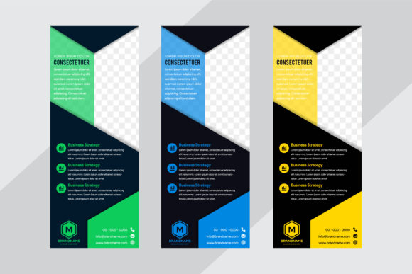 Print on Demand: Three Color Vertical Banner Geometric Graphic Graphic Templates By noory.shopper