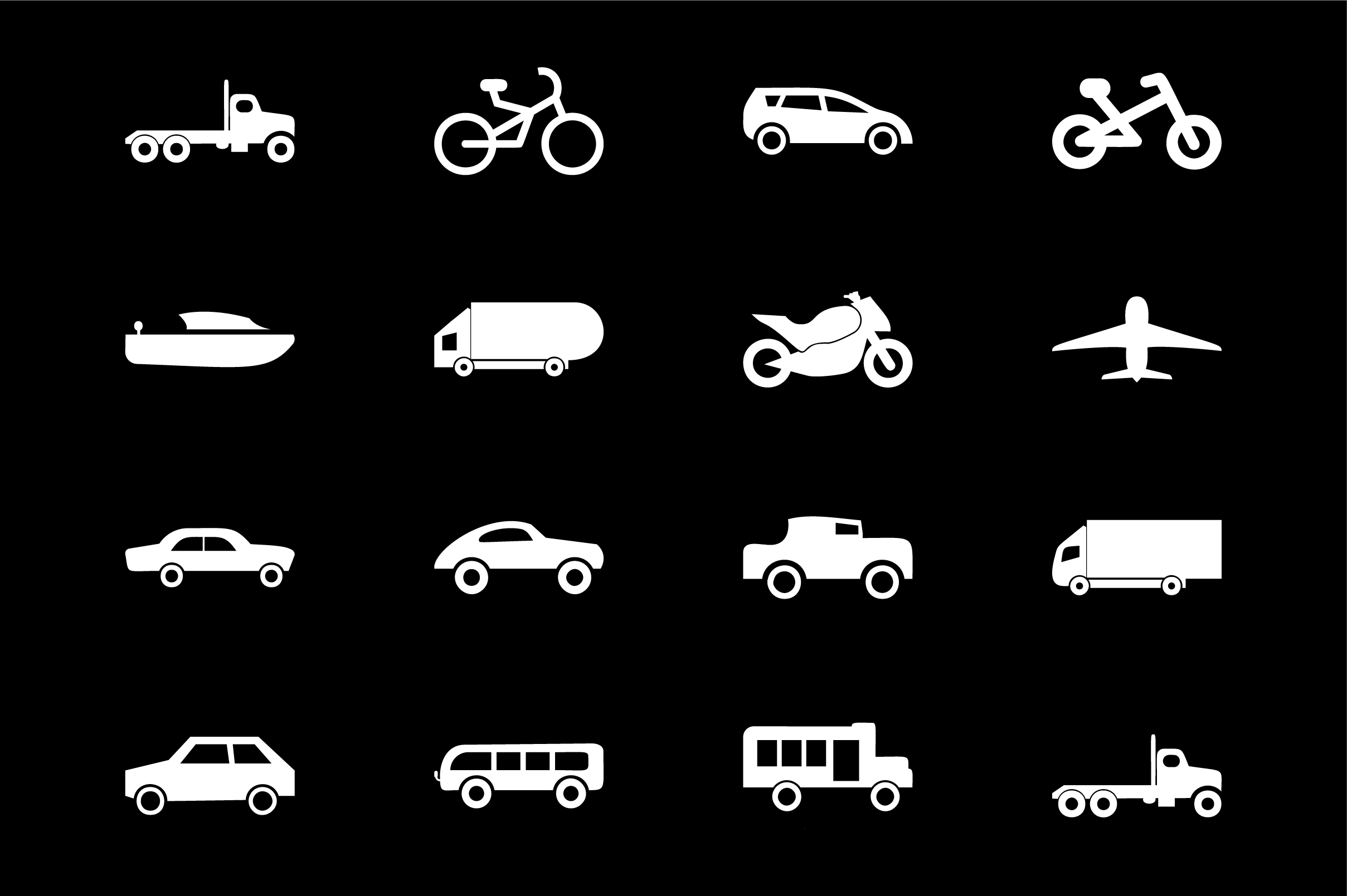 Download Free Vehicle Icon Set Vector Graphic By Riduwan Molla Creative Fabrica for Cricut Explore, Silhouette and other cutting machines.