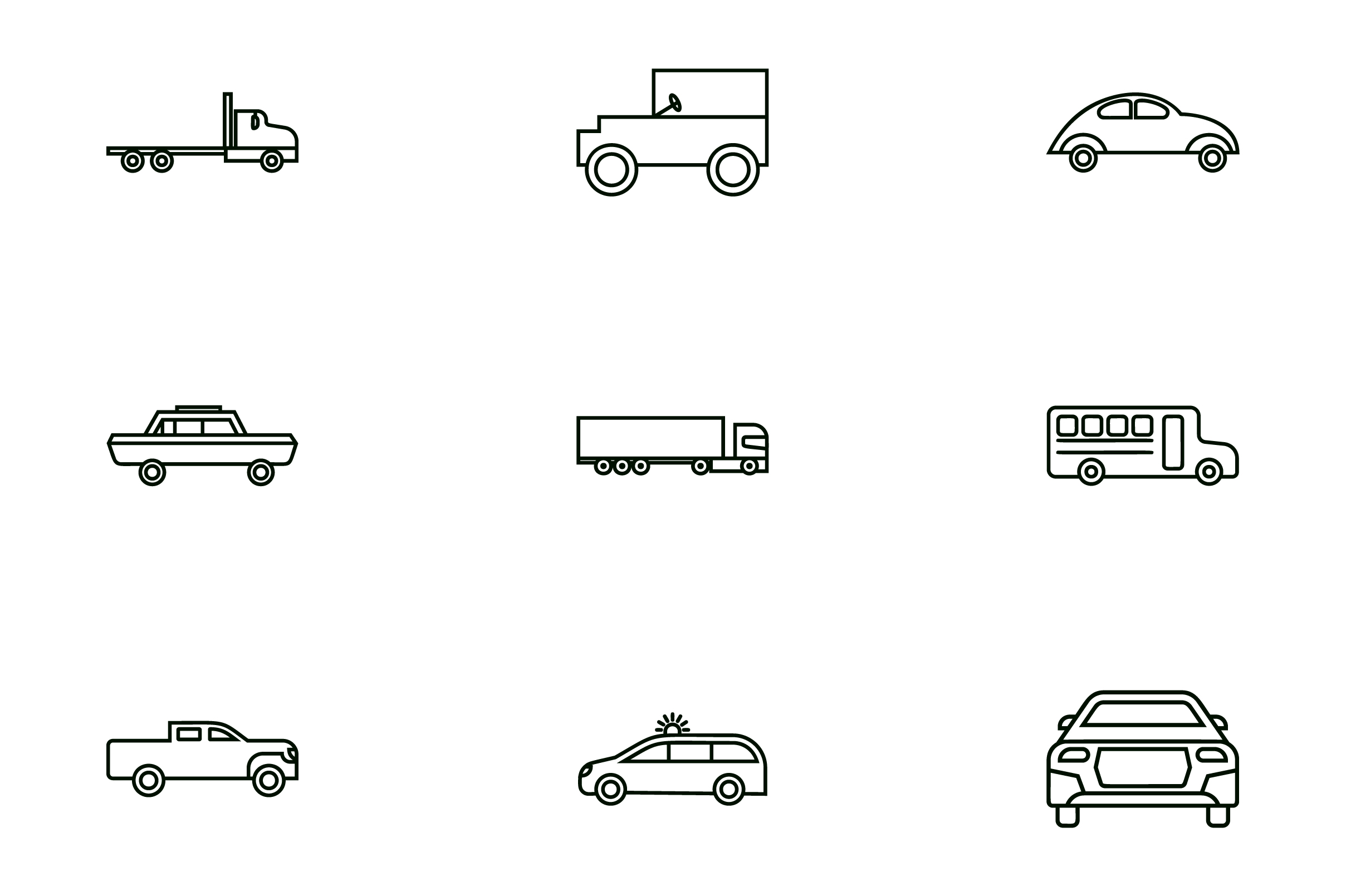 Download Free Vehicle Line Art Icon Set Vector Graphic By Riduwan Molla for Cricut Explore, Silhouette and other cutting machines.