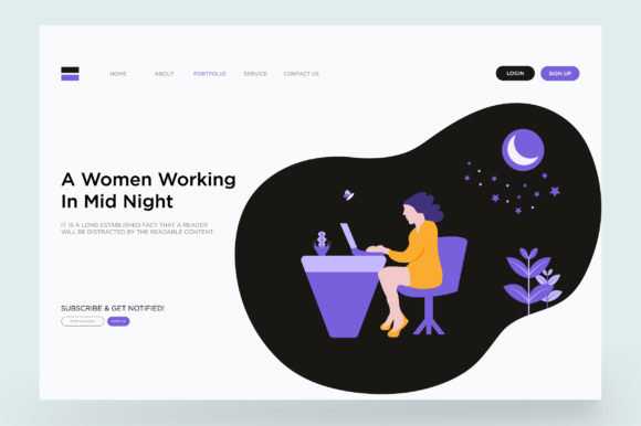 Print on Demand: Working Landing Page Vector Graphic Landing Page Templates By Riduwan Molla