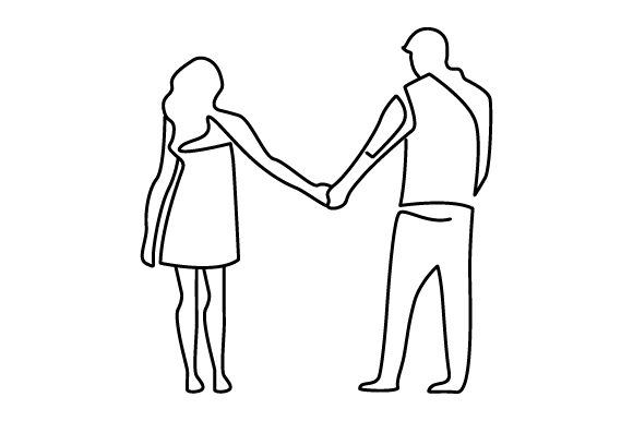 Couple Holding Hands (line Art Style) Valentine's Day Craft Cut File By Creative Fabrica Crafts