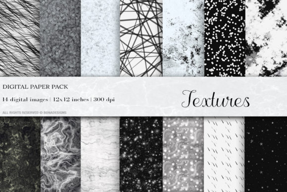 Black White Textures Digital Papers Graphic Backgrounds By BonaDesigns - Image 1
