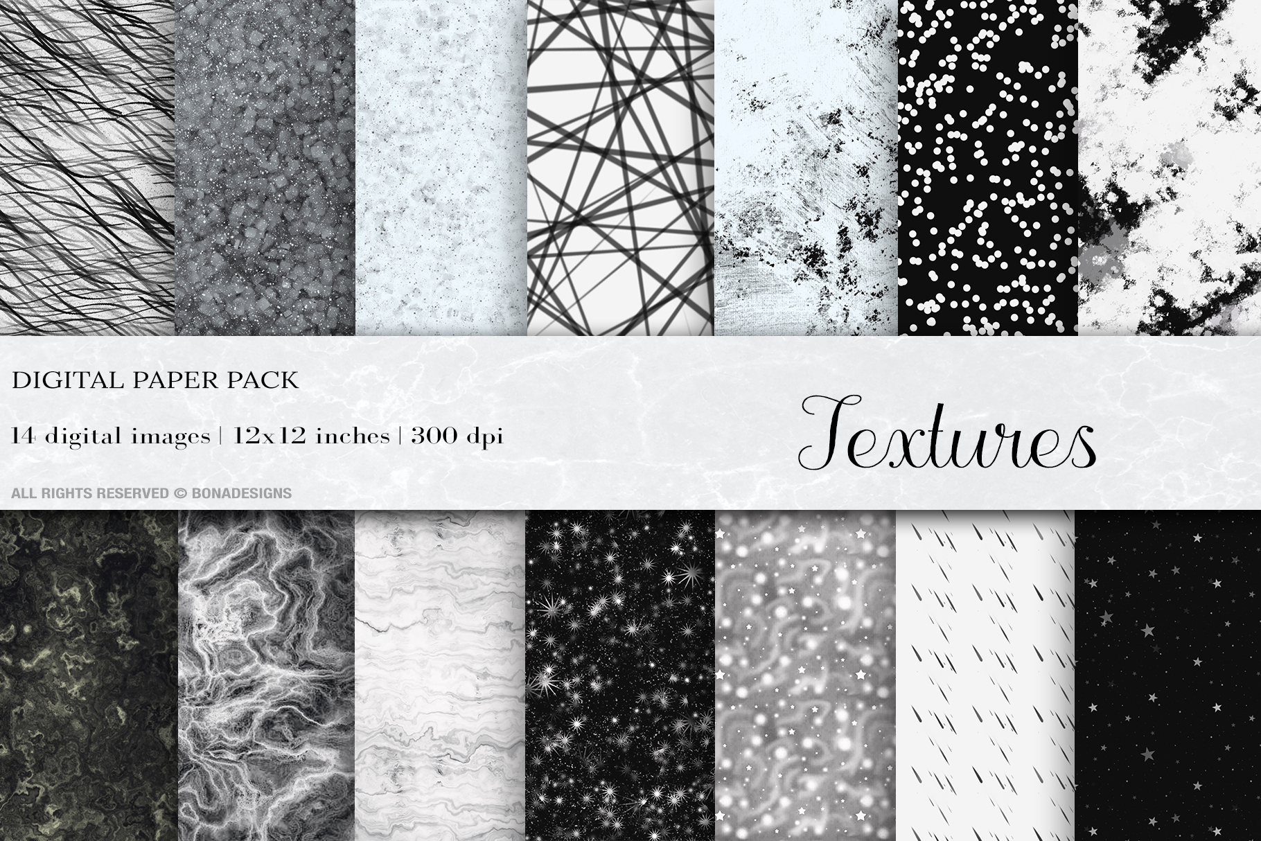 Download Free Black White Textures Digital Papers Graphic By Bonadesigns for Cricut Explore, Silhouette and other cutting machines.
