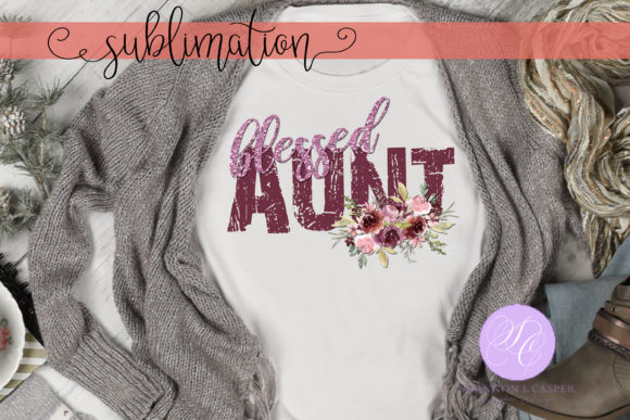 Print on Demand: Blessed Aunt with Watercolor Flowers Graphic Illustrations By Shannon Casper - Image 2