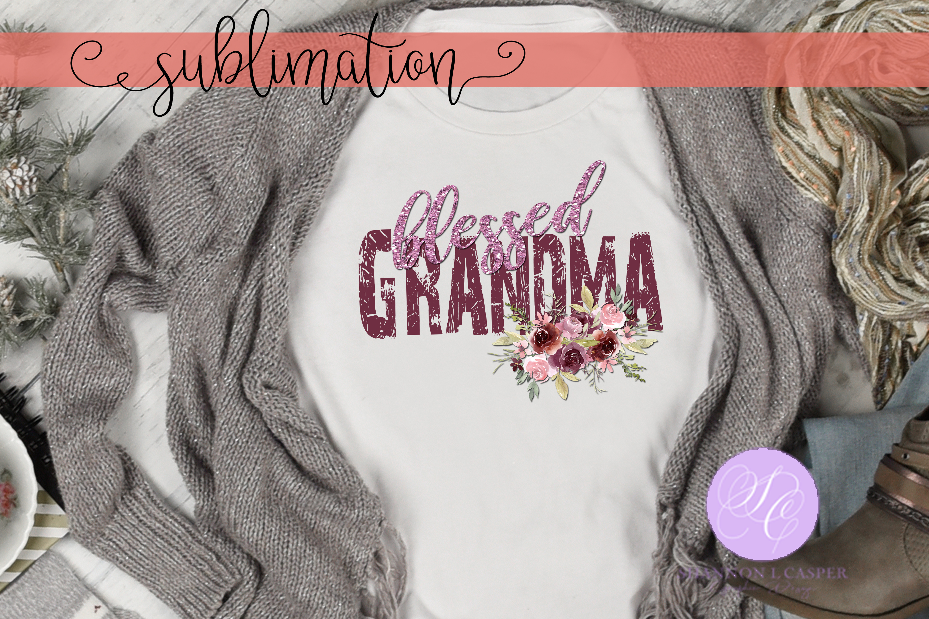 Download Free Blessed Grandma With Watercolor Flowers Graphic By Shannon for Cricut Explore, Silhouette and other cutting machines.