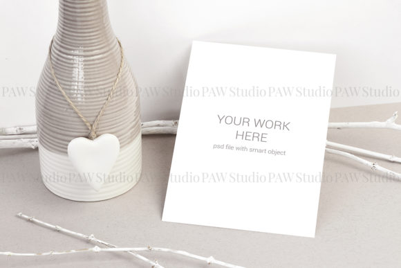 Download Free Card Mockup With Vase Graphic By Pawmockup Creative Fabrica for Cricut Explore, Silhouette and other cutting machines.