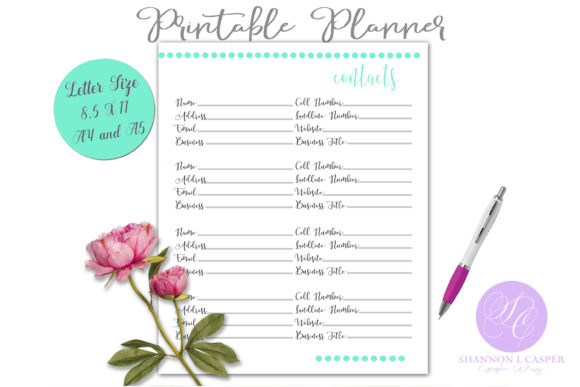 Print on Demand: Contacts Daily Planner Template Graphic Print Templates By Shannon Casper - Image 1
