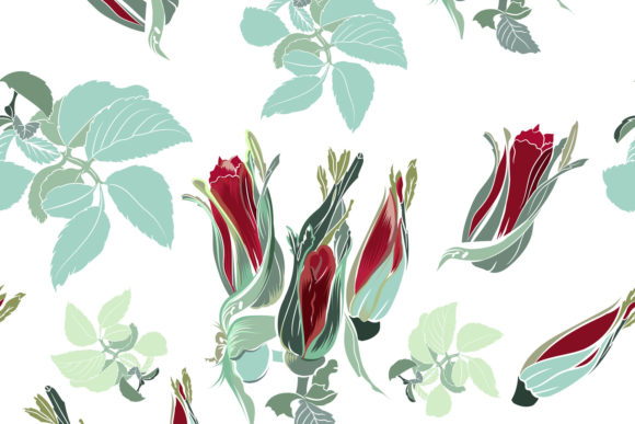 Fabric Pattern with Roses Vintage Style Graphic Patterns By fleurartmariia