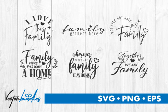 Print on Demand: Family Quote Svg Cut File Gráfico Crafts Por vectorbundles