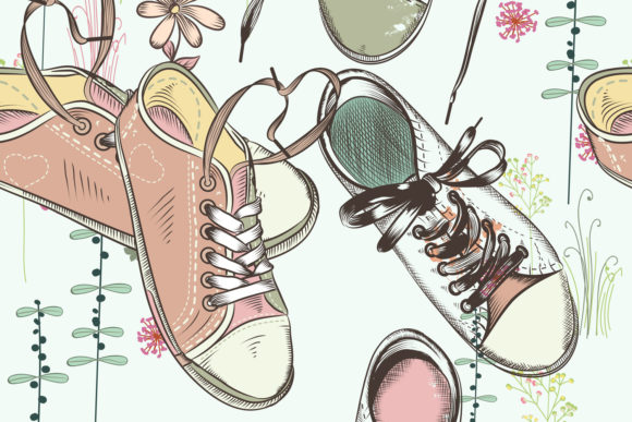 Fashion Hipster Pattern with Sneakers Graphic Patterns By fleurartmariia