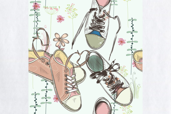 Fashion Hipster Pattern with Sneakers Graphic Patterns By fleurartmariia - Image 2