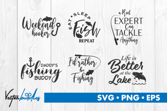 Print on Demand: Fishing Quotes Svg Cut File Gráfico Crafts Por vectorbundles