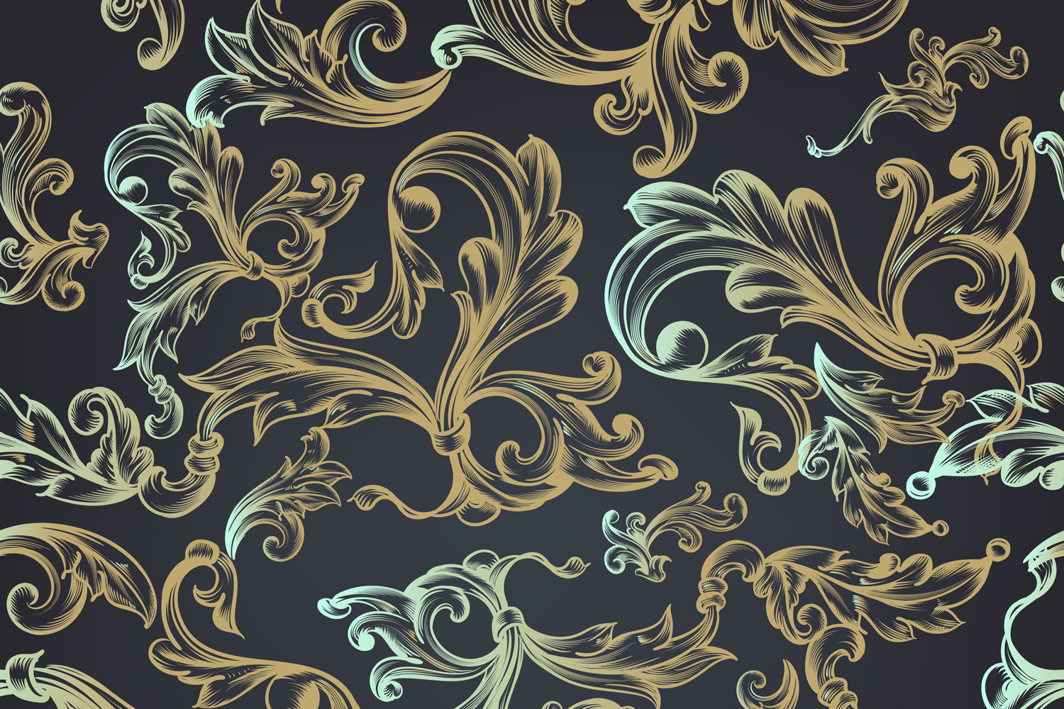Download Free Floral Pattern With Swirls For Design Graphic By Fleurartmariia SVG Cut Files