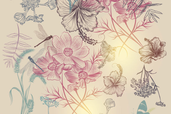 Floral Vector Background with Flowers Graphic Patterns By fleurartmariia