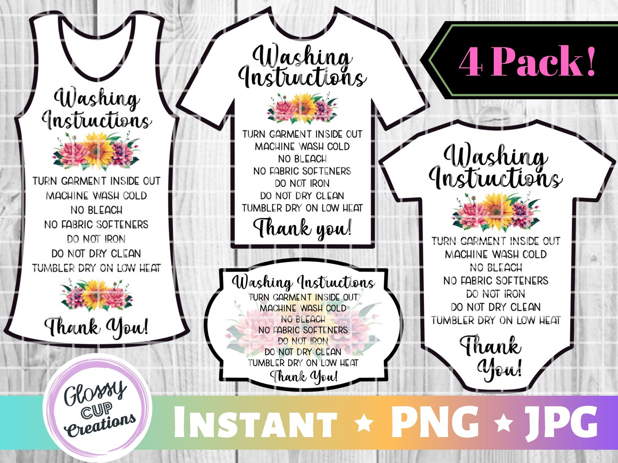 Download Free Garment Care Cards Floral Graphic By Suzannecornejo Creative for Cricut Explore, Silhouette and other cutting machines.