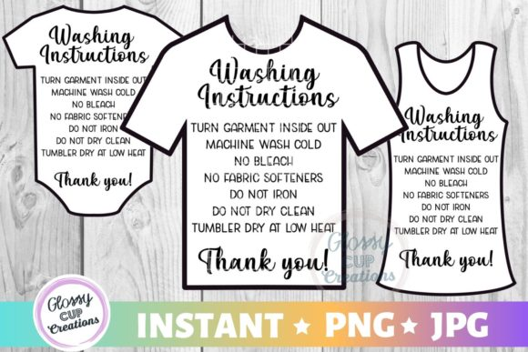 Print on Demand: Garment Care Cards - Shirt-Tank-Onesie Graphic Crafts By suzannecornejo - Image 1