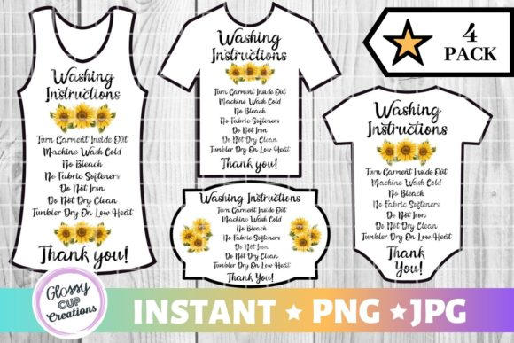 Download Free Garment Care Cards Sunflowers Graphic By Suzannecornejo for Cricut Explore, Silhouette and other cutting machines.