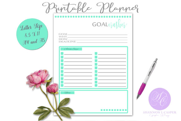Print on Demand: Goal Crusher Printable Planner Worksheet Gráfico Plantillas para Impresión Por Shannon Casper