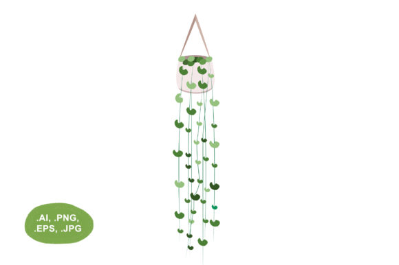 Download Free Hanging Plant Vector Illustration Graphic By Salfiart Creative for Cricut Explore, Silhouette and other cutting machines.