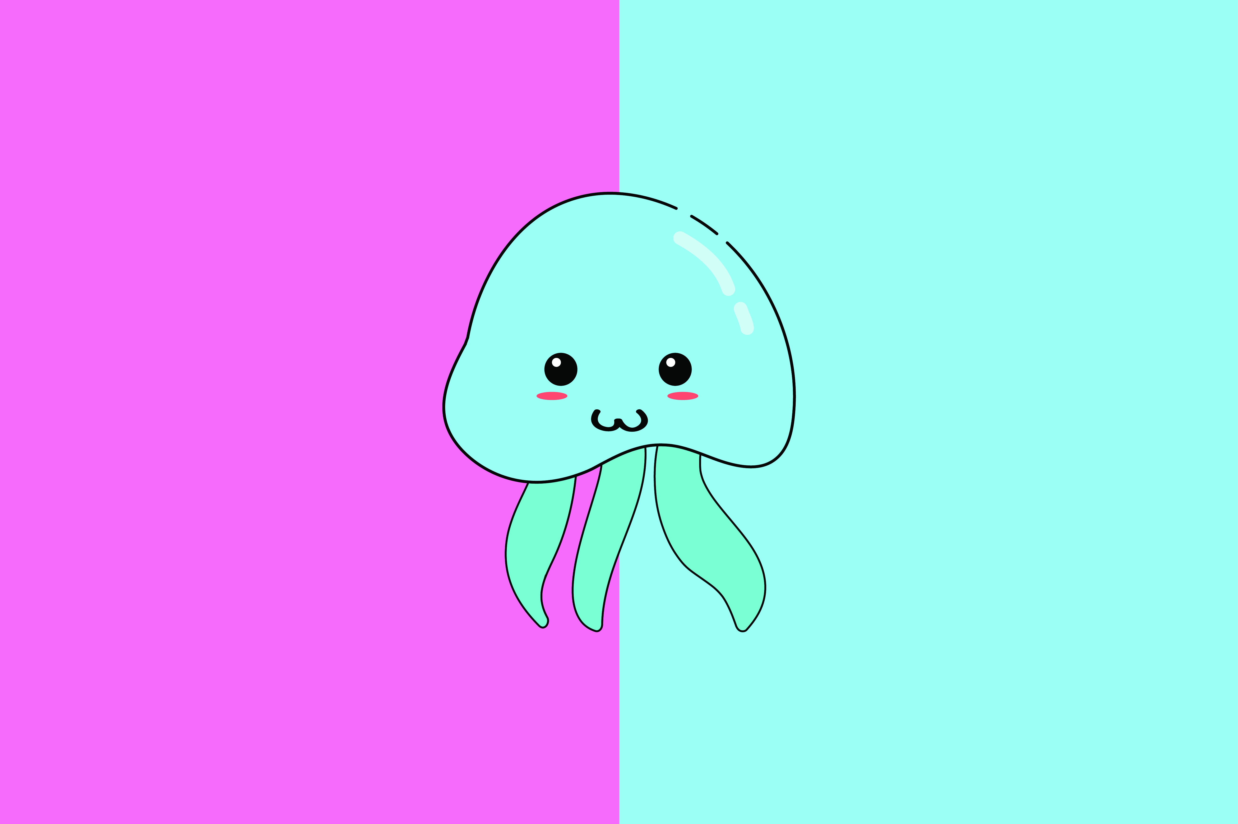 Download Free Jellyfish Kawaii Cute Illustration Graphic By Purplebubble for Cricut Explore, Silhouette and other cutting machines.