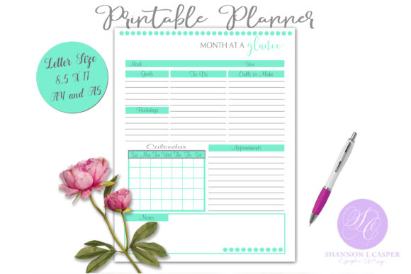 Print on Demand: Monthly Planning Worksheet Printable Gráfico Plantillas para Impresión Por Shannon Casper