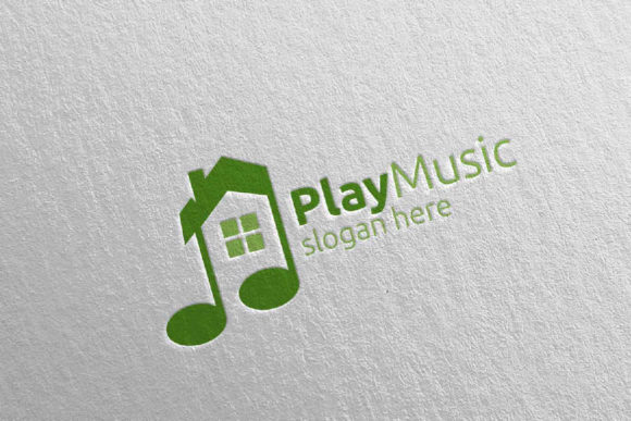 Music Logo With Note And House Concept Graphic By Denayunecf Creative Fabrica