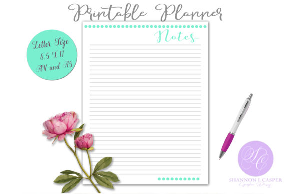 Print on Demand: Notes Page Printable Planner Sheet Graphic Print Templates By Shannon Casper