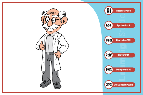 Print on Demand: Professor Old Man Cartoon Character Graphic Illustrations By leamsign