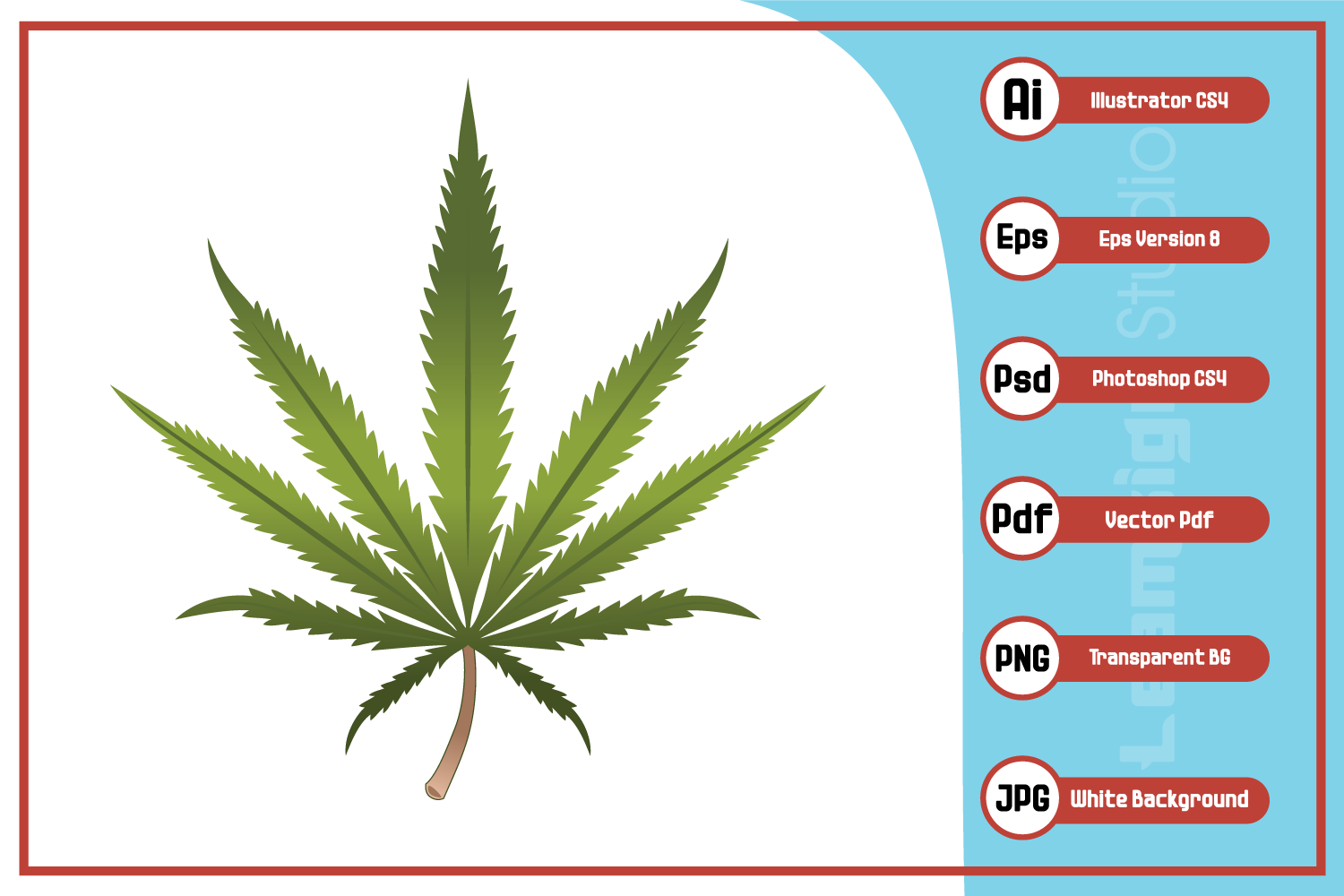 Download Free Realistic Marijuana Leaf Illustration Graphic By Leamsign for Cricut Explore, Silhouette and other cutting machines.