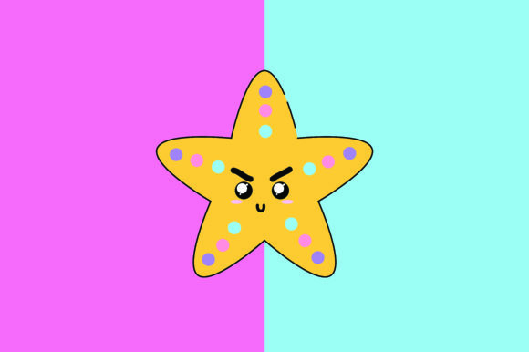 Download Free Starfish Kawaii Cute Illustration Graphic By Purplebubble for Cricut Explore, Silhouette and other cutting machines.