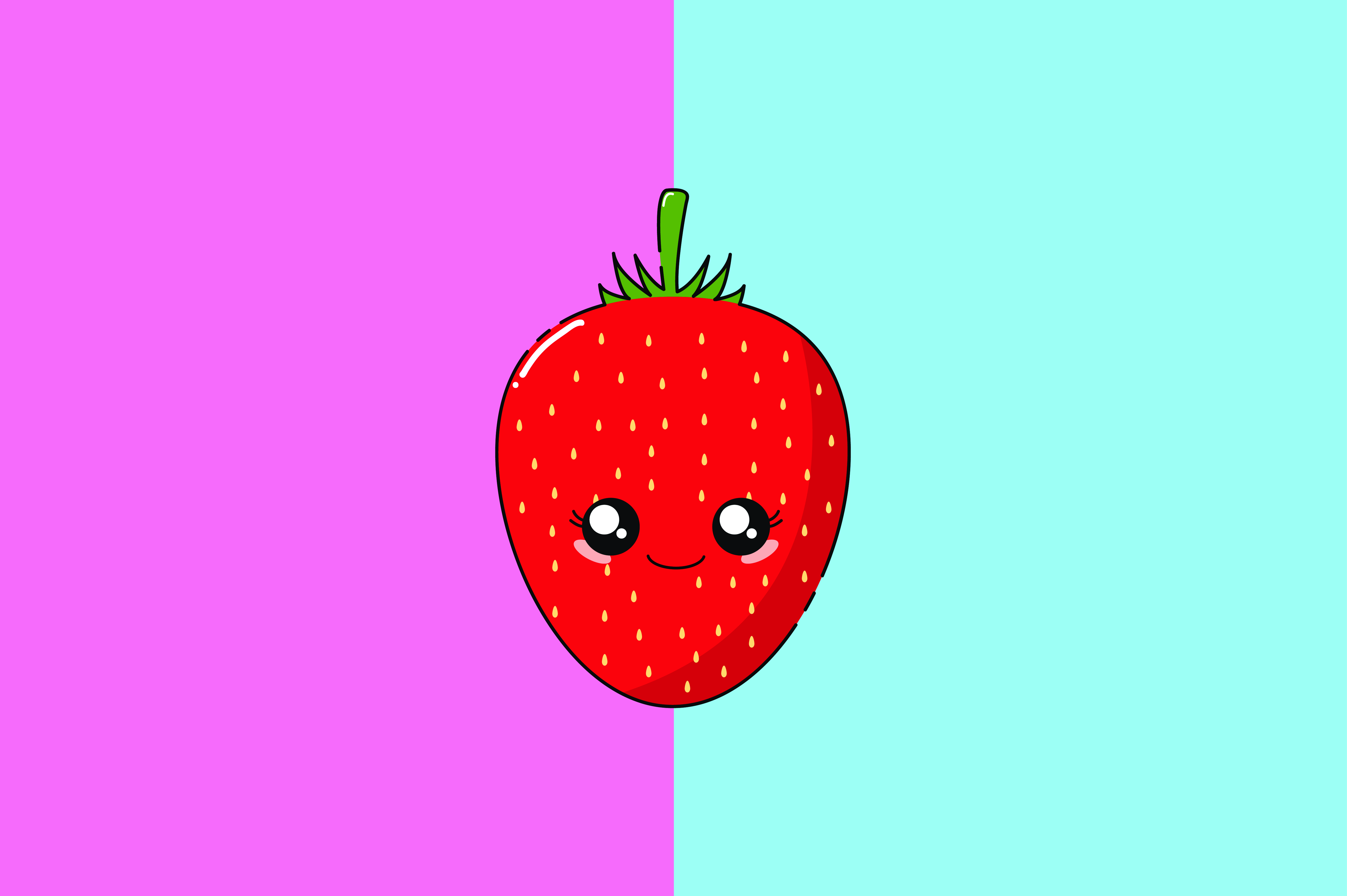 Download Free Strawberry Kawaii Cute Illustration Graphic By Purplebubble for Cricut Explore, Silhouette and other cutting machines.