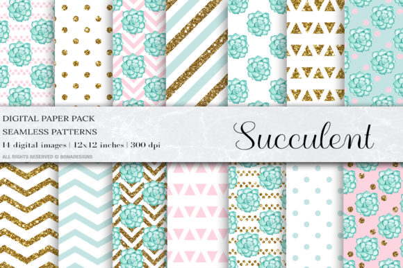 Succulent Digital Papers Graphic Patterns By damlaakderes