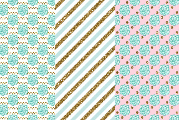 Succulent Digital Papers Graphic Patterns By BonaDesigns - Image 2